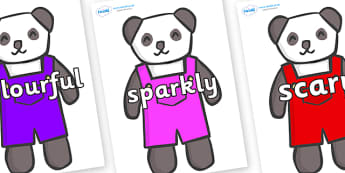 Wow Words on Panda Bears - Wow words, adjectives, VCOP, describing, Wow, display, poster, wow display, tasty, scary, ugly, beautiful, colourful sharp, bouncy