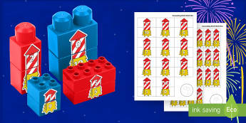 Firework Rocket Number Bonds to 10 Matching Connecting Bricks Game - EYFS, Early Years, KS1, Connecting Bricks Resources, Duplo, Lego, Plastic Bricks, Building Bricks, B