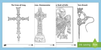Monastic Treasures Colouring Pages-Irish - Ireland, The Land of Saints and Scholars,early christian Ireland,Irish saints, monastic Ireland, art