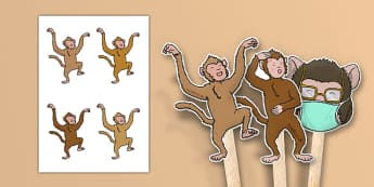 5 Little Monkeys Jumping on the Bed Stick Puppets - counting, 5, monkey, nursery rhyme, song, singing, early years, eyfs, ks1, foundation, reception, nursery, role play, acting