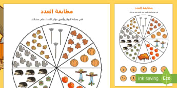 تمرين الخريف لمطابقة الصورة والعدد  - العد، الخريف، الأعداد، مطابقة العدد، حساب، رياضيات، ع