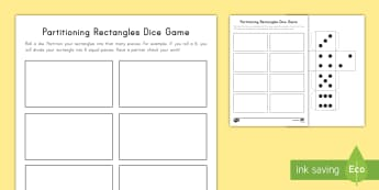 Partitioning Rectangles Dice Game - partitioning, rectangles, shapes, geometry, dice, game