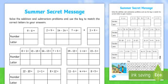 Addition and Subtraction Summer Secret Message Worksheet / Activity Sheet - Maths, mathematics, addition and subtraction, number and algebra, secret message, summer, ACMNA015,