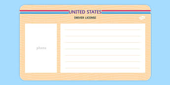 US Blank Driving License Template - us, blank, driving license, template, usa, america, drivers license
