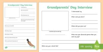 Grandparent Interview Activity Sheet - Grandparent's Day Pack, grandparents, relatives, family, grandma, grandpa, granny, grandad, grandda