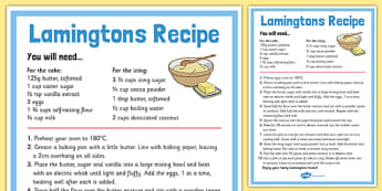 Lamingtons Recipe Sheet - australia, Recipe, Lamingtons, Cakes, Australian, Cooking, Baking, Procedure