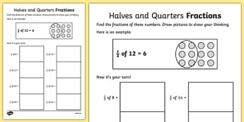 Halves And Quarters Fractions Worksheets - fraction, numeracy, Fraction, half, quarter, whole, group