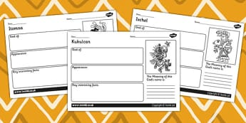 Maya Gods Information Worksheets - ancient maya, mayans, mayan