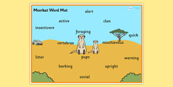 Safari Meerkat Word Mat - safari, safari word mat, safari meerkat word mat, meerkat word mat, safari animals word mat, meerkat descriptive word mat