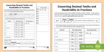 Converting Decimal Tenths and Hundredths to Fractions Worksheet / Activity Sheet - Learning from Home Maths Workbooks, converting fractions, fractions to decimals, equivalence, worksh