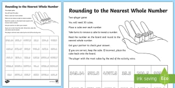 Rounding to the Nearest Whole Number Activity - decimals, tenths, hundredths, round, estimate, nearest, year 4, y4, ks2, maths, game