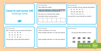 Year 1 Count to and across 100 Maths Mastery Challenge Cards - reason, represent, discuss, missing numbers, patterns, count back, reasoning, number talks
