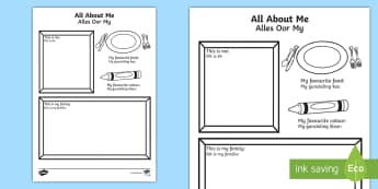 All About Me Colouring and Drawing Worksheet / Activity Sheet English/Afrikaans - fine motor skills, pencils, crayons, favourites, fynmotories, food, EAL