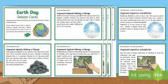 Earth Day Debate Cards English/Romanian - KS2 Earth Day (April 22nd), debate, scenario, climate change, global warming, geography, global citi