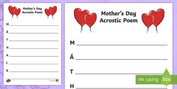 Mother's Day Acrostic Poem - Mothers Day, Lá na Maithreacha,Irish, acrostic, poem.