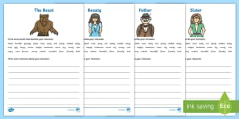 Beauty and the Beast Character Description Worksheet / Activity Sheets - Beauty and the Beast White Character Description Sheets - Beauty and the Beast, worksheet, Beauty, B