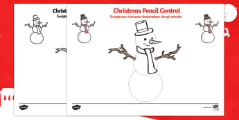 Snowman Tracing Control Sheet English/Polish - Christmas Pencil Control Worksheets (Snowman) - Christmas, xmas, pencil control, Handwriting, tracin