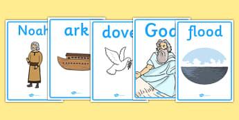 Noah's Ark Display Posters - Noah's Ark, display, poster, sign, noah, tools, ark, animals, rain, rainbow, flood, dove, land