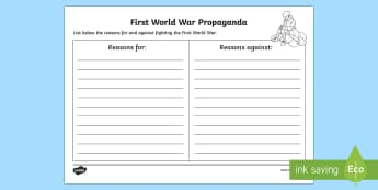 Northern Ireland First World War For and Against Recruitment Writing Activity Sheet