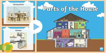 Presentación: Partes de la casa en inglés - hogar, house, partes, habitaciones, rooms, vocabulary, vocabulario, home, casas, living room, kitche