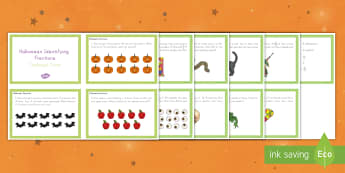 Halloween Identifying Fractions Challenge Cards - Halloween, october, festival, fall, celebration, spooky, ghosts, witch, zombies, challenge cards, ma