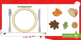 Christmas Dinner Plate Activity - turkey, roast potatoes, brussel sprouts, carrots, Mix, Match, Mix and match, creative, art, fun, des
