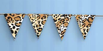 Jaguar Pattern Themed Bunting - jaguar, pattern, bunting, display