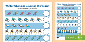 Winter Olympics Counting Worksheet - winter, olympics, counting