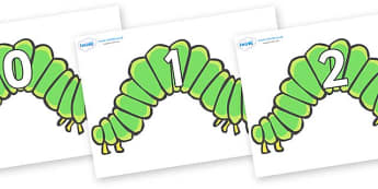 Numbers 0-50 on Hungry Caterpillars to Support Teaching on The Very Hungry Caterpillar - 0-50, foundation stage numeracy, Number recognition, Number flashcards, counting, number frieze, Display numbers, number posters