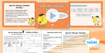 PlanIt English Y1 Term 3B Assess and Review Spelling Pack - Spellings Year 1, Term 3B, W7, assess, review, dictation, cloze procedure, assessment