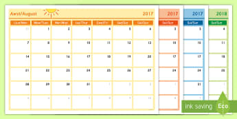Academic Year Monthly Calendar Planning Template 2017-2018 English/Welsh - calendar, welsh, back to school, monthly calendar, siarter iaith,Welsh