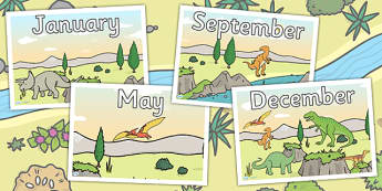 Dinosaur Themed Months of the Year Posters - dinosaurs, calendar