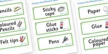 Hazel Tree Themed Editable Creative Area Resource Labels - Themed creative resource labels, Label template, Resource Label, Name Labels, Editable Labels, Drawer Labels, KS1 Labels, Foundation Labels, Foundation Stage Labels