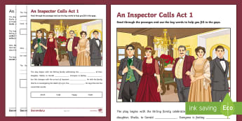 LA An Inspector Calls: Act 1 Gap Fill Activity Sheet - Lower ability resources for an inspector calls, jB priestley, Low ability KS4 literature