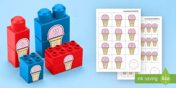 Ice Cream Number Bonds to 20 Matching Connecting Bricks Game - EYFS, Early Years, KS1, Connecting Bricks Resources, duplo, lego, plastic bricks, building bricks, M