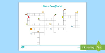 Bia Crossword Gaeilge - Bia, Food, Irish, puzzle,