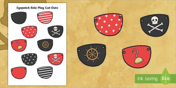 Eye Patch Role Play Cut-Outs - pirates, template, pirate, dressing up, fancy dress