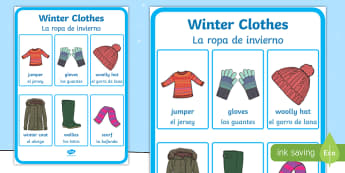 * NEW * Winter Clothes Vocabulary Display Poster - English/Spanish  - Winter Clothes Vocabulary Poster - winter clothes, vocabulary poster, winter, clothes,wnter, wintre,