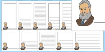 Alexander Graham Bell Themed Page Borders - alexancer graham bell, themed, page borders