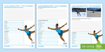 Winter Olympics Structured Writing Differentiated Activity Sheets French - GCSE, future, tense, frame, practise,French