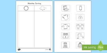 Weather Sorting Activity Sheet - Weather, Cold, Hot, weather sorting, activity sheet, Pre-k weather, worksheet, kindergarten weather,