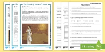 Medusa - The Quest of Perseus Differentiated Differentiated Reading Comprehension Activity - read, respond, record, myth, legend, Ancient, Greece, questions