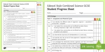 Edexcel Style Ecosystems and Material Cycles Student Progress Sheet - edexcel, exams, exam preparation, Organisation, organism, population, community, ecosystem, abiotic,