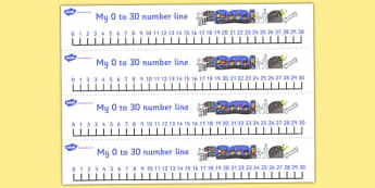 Number Lines 0 to 30 to Support Teaching on Funnybones - maths, counting, bigger, smaller, numeracy, KS1, key stage 1, early years,