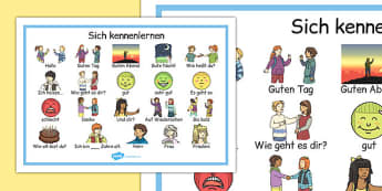 Sich kennenlernen Word Mat German - german, getting to know you, word mat, know, you, word, mat