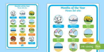 Months of the Year Display Poster English/Spanish - EAL, display poster, seasons, winter, summer, spring, autumn, january, february, march, april, may,