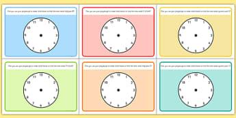 O'Clock Half Past and Quarter Past Time Playdough Mat - mats, time, o'clock, half past, quarter past, playdough, clock