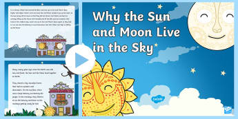 Tales from Africa Why the Sun and Moon Live in the Sky PowerPoint - African Tale, tinga tinga, story, sun, moon, water, creation, tradition,