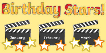 Birthday Stars Movie/Clapperboard Themed Display Pack