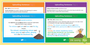 Second Level Uplevelling Sentences Display Posters - uplevel, edit and improve, improving writing, grammatical features, P5, P6, P7, improving,